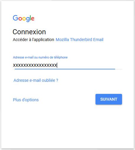 thunderbird: se connecter à ma boite mail