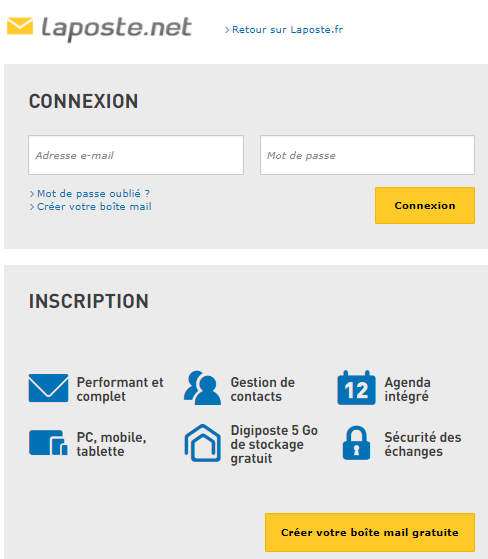 Inscription mail Laposte.net