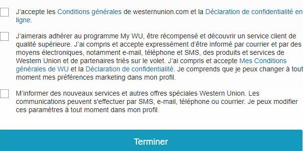 Conditions générales Western Union