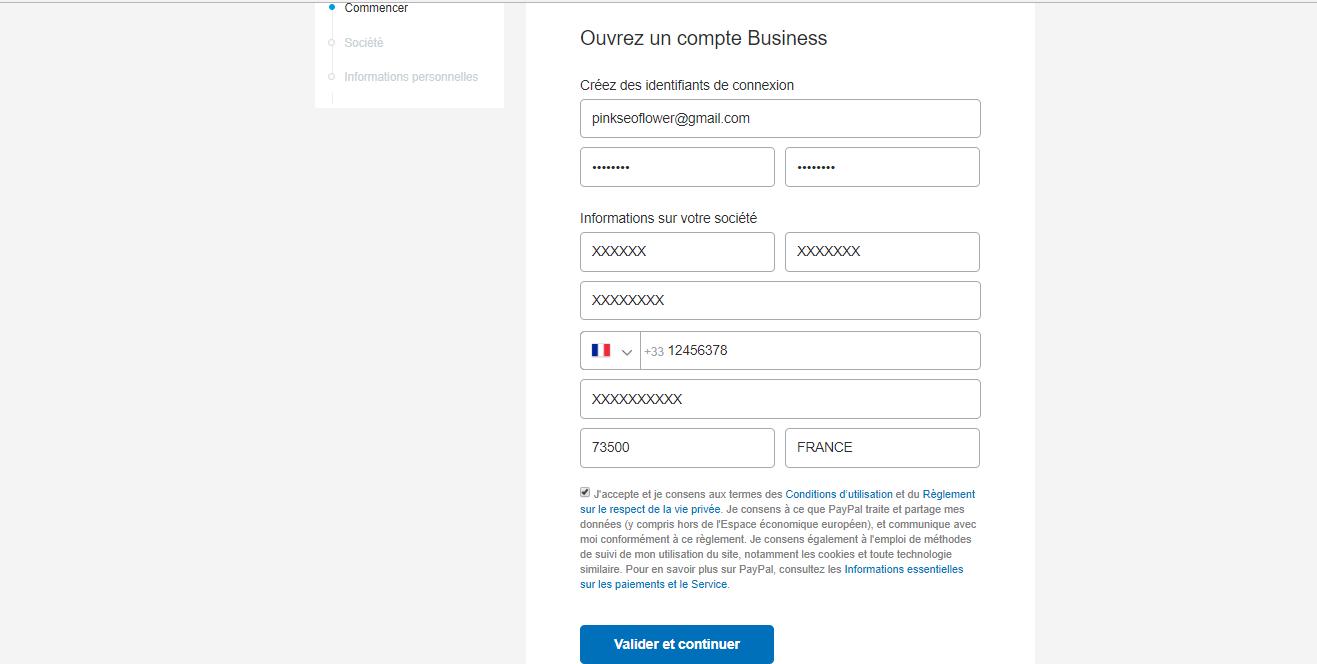 remplir formulaire de création de compte paypal