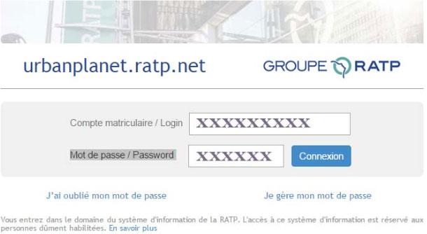 connexion au compte Ratp