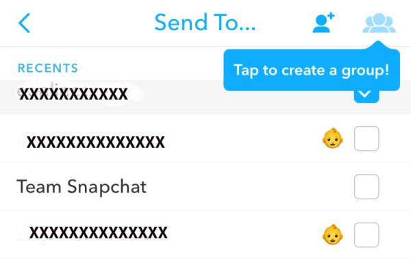 créer un groupe sur snapchat