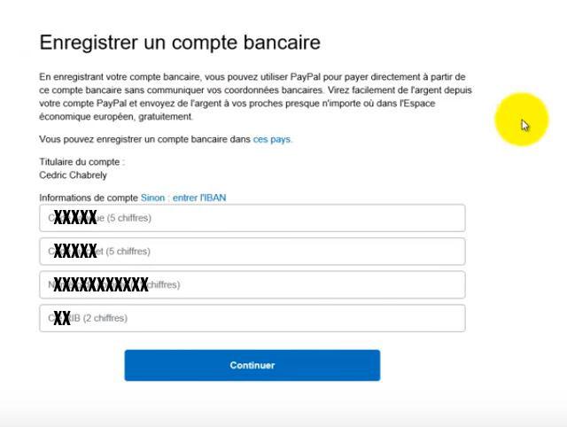 enregistrer compte bancaire sur paypal