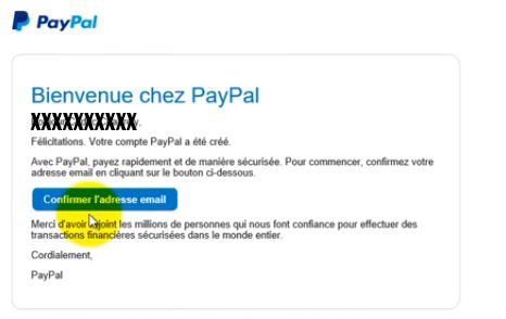confirmation compte paypal