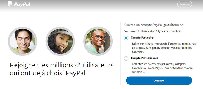 creation compte particulier paypal