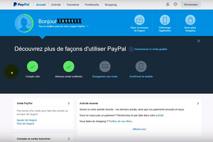 interface paypal particulier