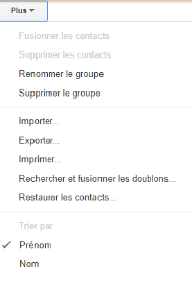 supprimer groupe du contact gmail