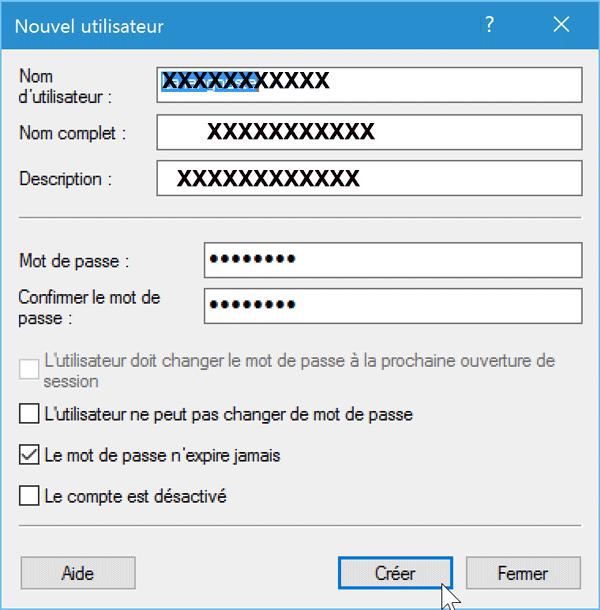 Création compte utilisateur Windows 10