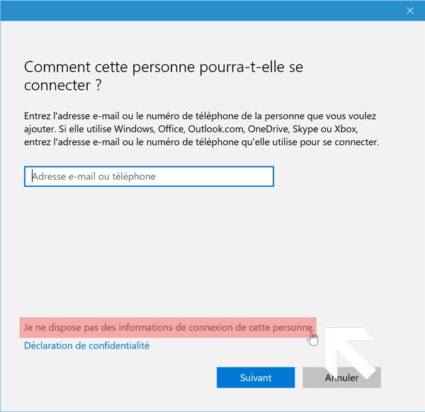 créer compte utilisateur sur Windows 10
