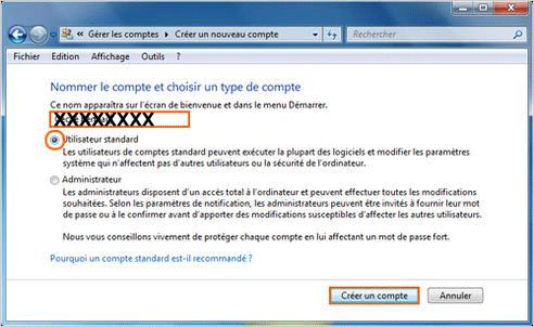 créer un compte utilisateur windows 7