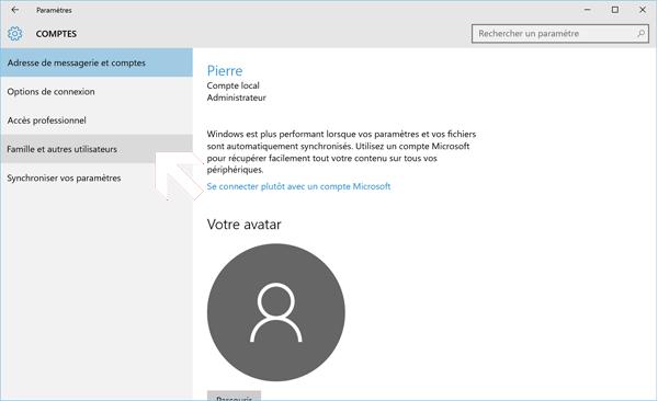 ouvrir compte utilisateur local sur Windows 10