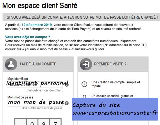 www.ca-prestations-sante.fr : connexion espace client