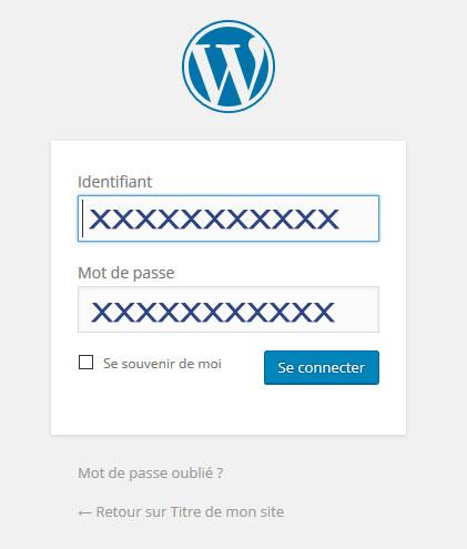 connexion au compte wordpress