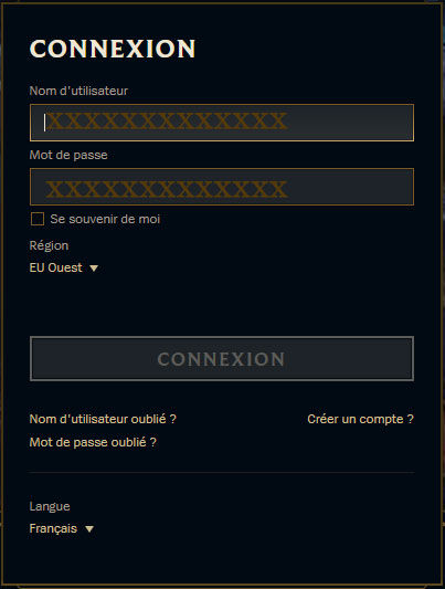 League of Legend connexion