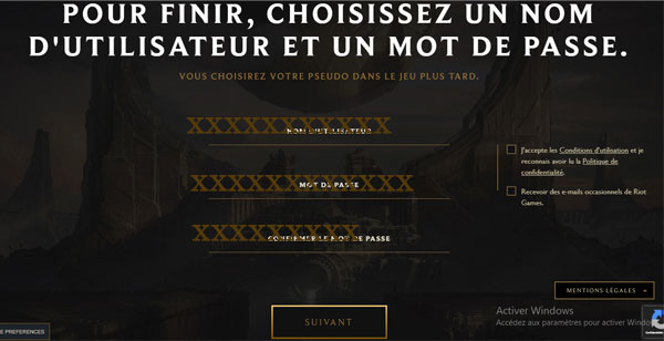 League of legend inscription