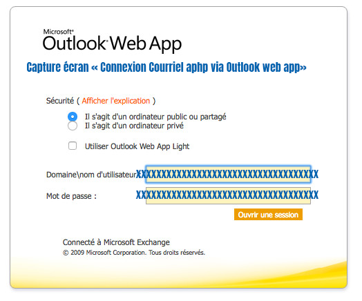 acces courrier aphp via outlook web app
