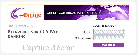 Connexion compte CCA Cameroun