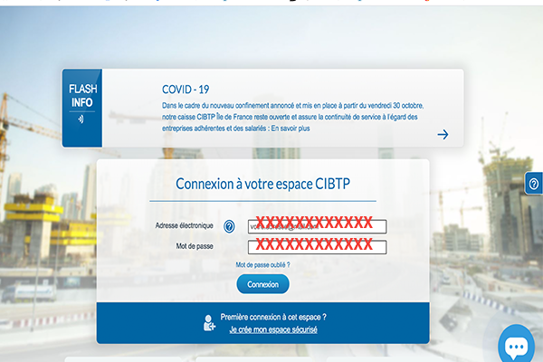Formulaire de connexion à l'espace cibtp-id.fr