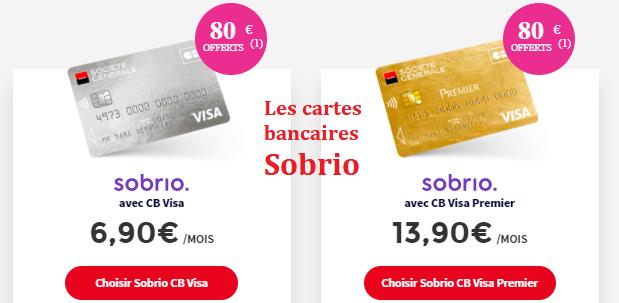 cartes bancaires Sobrio V Pay et premium